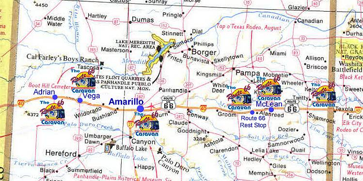 Route 66 Map Texas