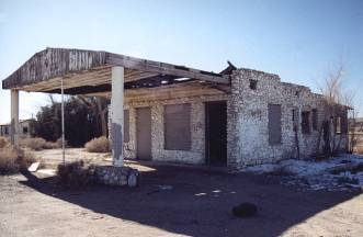 Ruins of an Old Stone Gas Station on Route 66