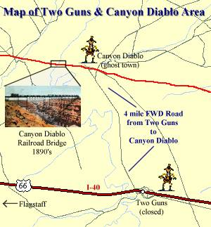 Map of Two Guns & Canyon Diablo