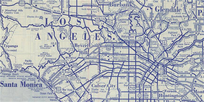 Vintage Los Angeles Map  Indiana Map