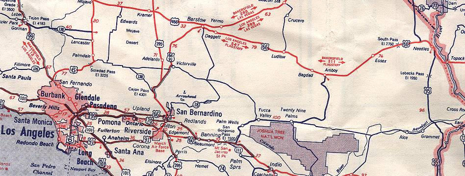 California Route - Us highway map 1960