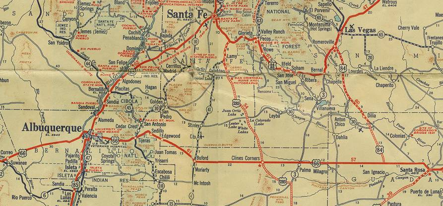 New Mexico Route - Antique road maps