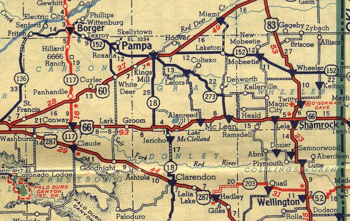 Detailed Route 66 Map >> Texas Route 66