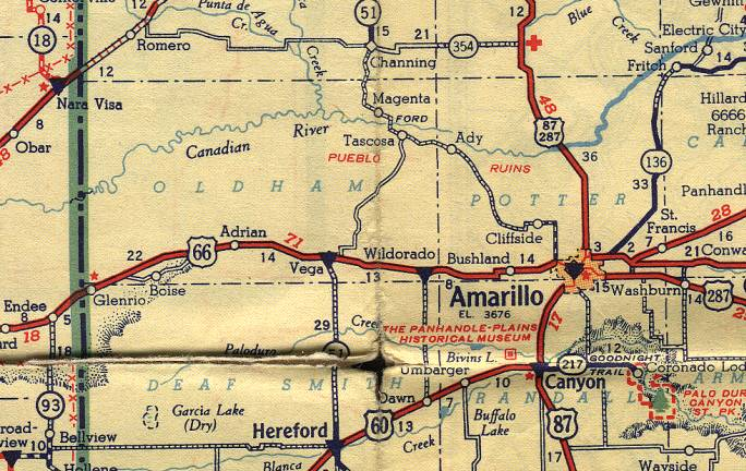 Map Of Western Texas.Texas Route 66