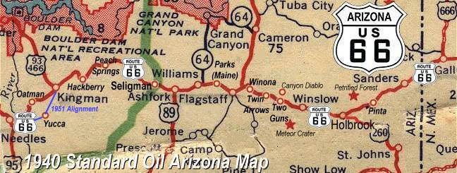 Meteor Crater Arizona Map.Trading Posts On Arizona Route 66