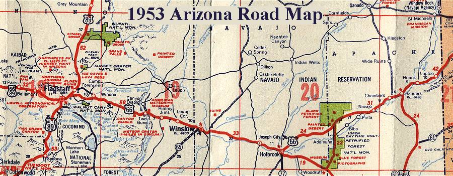 Map Of Old Route 66 Arizona.Arizona Route 66