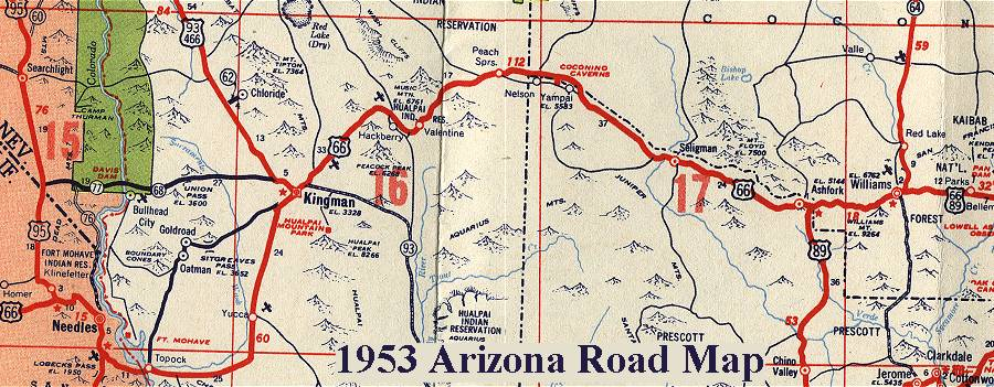 Historic Route 66 California Map.Arizona Route 66