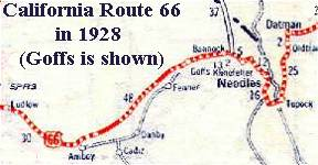 Map Of California Route 66.Mojave Towns